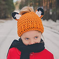 Foxy Messy Bun Hat for children and adults, Animal Design Autumn Gift, Christmas Gift for Kids