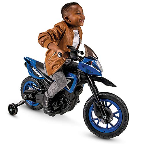 Huffy 6V Kids Electric Battery-Powered Ride-On Motorcycle Bike Toy w/ Training Wheels, Engine Sounds, Charger - Blue