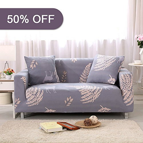 """UPC 714424542120, Lamberia Spandex Fabric Stretch Sofa Slipcover Couch Covers For Loveseat With One Pillow Case 54""""-70"""", Cheerful Fawn"""