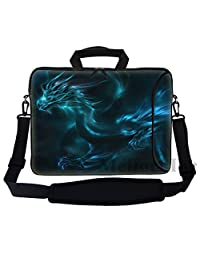 "Meffort Inc 17 17.3 inch Neoprene Laptop Bag Sleeve with Extra Side Pocket, Soft Carrying Handle & Removable Shoulder Strap for 16"" to 17.3"" Size Notebook Computer - Blue Dragon Design"
