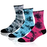 Cotton Crew Socks, J'colour Unisex Print Cushion Casual Running Socks 1-4 Pairs