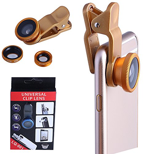 3-in-1 Clip Lens for Mobile Phone and Tablet Set of 2 (Gold) - 3