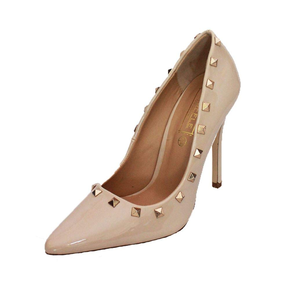 e89837cf62f SendIt4Me Ladies Patent Pointy Toe Stiletto Court Shoes with Metal Studs   Amazon.co.uk  Shoes   Bags