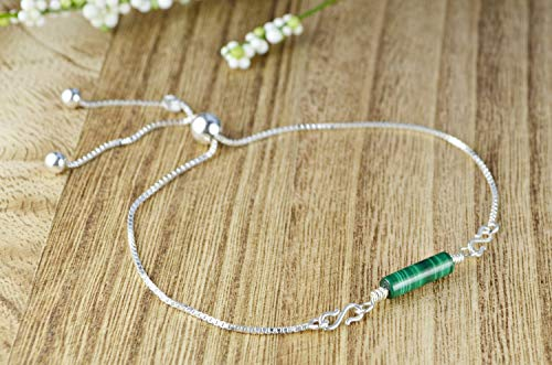Sleek Green Malachite Adjustable Sterling Silver Interchangeable Charm/Link Bolo Bracelet- Charm, Bracelet Chain, or Both