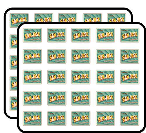 San Jose City USA Vintage Greeting Label Art Decor Sticker for Scrapbooking, Calendars, Arts, Kids DIY Crafts, Album, Bullet Journals 50 Pack -