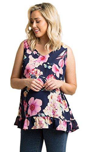 Ruffle Cami Trim (PinkBlush Maternity Navy Floral Chiffon Ruffle Trim Top, XL)