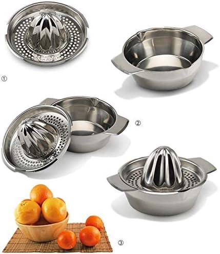 DERCLIVE Exprimidor manual de acero inoxidable Exprimidor de frutas y naranja limón, plata
