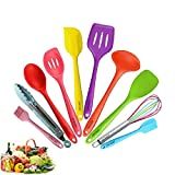 JISNKEI Silicone Kitchen Utensil 10 pieces,Color Silicone Non-stick Utensil,Silicone Kitchenware Set,Colored Cooking Utensils for Home Cooking,BBQ,Baking