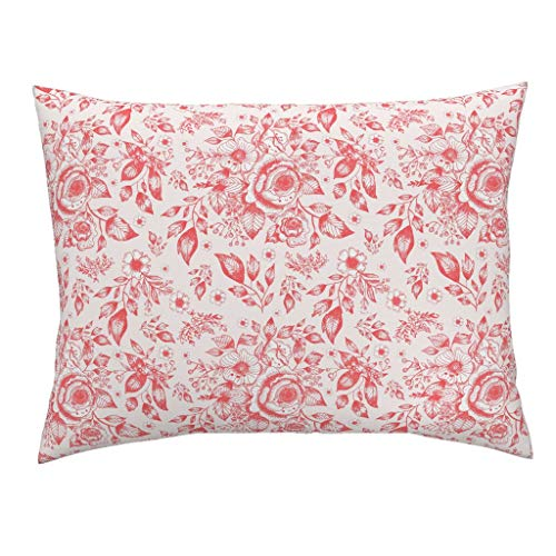 - Roostery Floral Wedding Euro Knife Edge Pillow Sham Pink and Red Floral Toile Toile Flowers Red Spring Leaves Nature by Ginamayes 100% Cotton Sateen