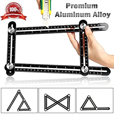Template Measure Ruler Multi Angle Measuring Measurement Premium Aluminum Alloy Angleizer Tile & Flooring Layout Tools for Handymen Engineers Weekend Warriors DIY-ers