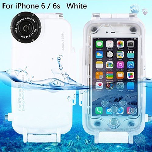 HAWEEL iPhone 6/ 6s Underwater Housing Professional [40m/ 130ft] Diving Case for Surfing Swimming Snorkeling Photo Video No Reflection + Lanyard (iPhone 6/ 6s, White)