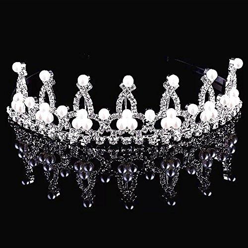 SudaTek Child Crystal Tiara Crown for Flower Girls, Pearl Princess Costume (Flower Costumes For Children)