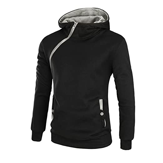 Sunshey Men's Long Sleeve Hoodies Patchwork Hooded Sweatshirt