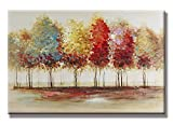 Charming Charm - 100% Hand Painted Oil Painting Landscape Abstract Lively Trees with Stretched Frame : 24x 36 Inch