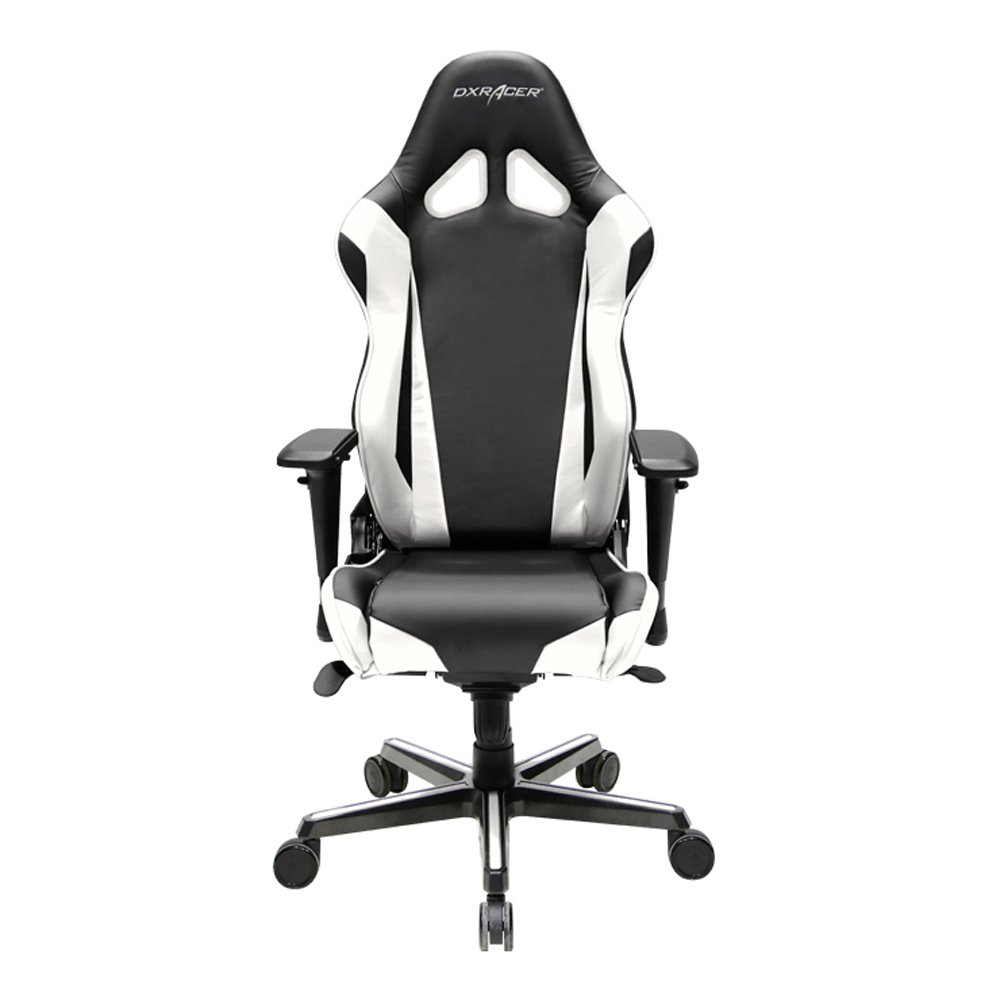 DXRacer Racing Series DOH/RV001/NW Newedge Edition Racing Bucket Seat Office Chair Gaming Chair PVC Ergonomic Computer Chair eSports Desk Chair Executive Chair With Pillows(Black/White)