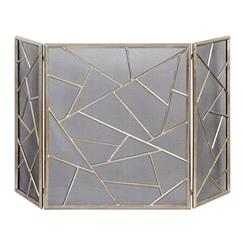 Uttermost 20072 Armino Modern Fireplace Screen, Silver