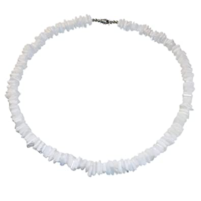 8e8f117f1f0b Amazon.com: Hawaiian 6mm White Square Cut Puka Shell Necklace with Lobster  Lock (18 IN): Jewelry