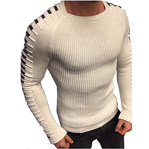 Vrac Pull Rond Étroite Coupe longue Pull Manche Casual En Sweat Homme Blanc Hiver Tops Morbuy Polyester Col over 8atwqxC