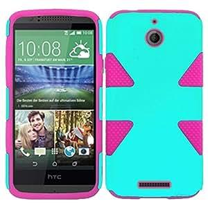 HR Wireless HTC Desire 510 Dynamic Slim Hybrid Cover - Retail Packaging - Teal/Hot Pink