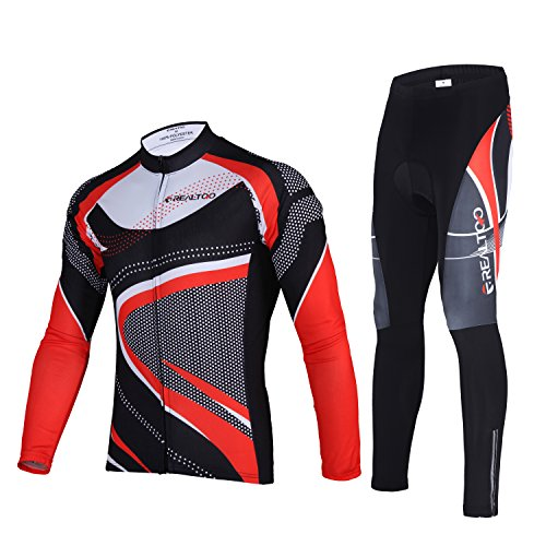 Joyutoy Couple Bike Outfit Set Long Sleeve Cycling Jersey and 3D Padded Tights Pants Comfortable Breathable Sportswear (Men Red, (Couples Outfit)
