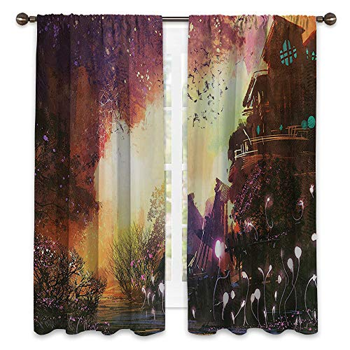 SATVSHOP Wide Width Thermal Insulated Blackout Curtain - 84W x 96L - Fantasy Art House Abandoned Medieval Castle with Old Tower Ghosts Halloween Spooky Mauve Yellow.]()