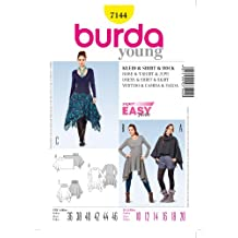 BURDA STYLE 7144 DRESS & SKIRT WITH ASYMETRICAL HEMS, T SHIRT, COWL NECK CAPE / PONCHO FOR STRETCH KNITS SEWING PATTERN MISSES' / PLUS SIZES: 6 - 22