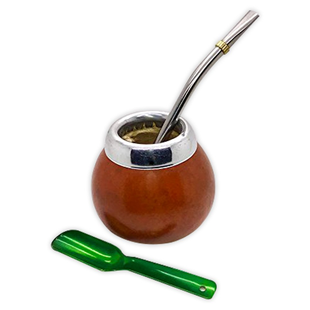 Handmade Mate Gourd Set Including Straw (Bombilla) and Spoon