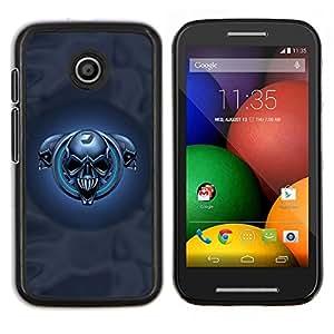 Caucho caso de Shell duro de la cubierta de accesorios de protección BY RAYDREAMMM - Motorola Moto E - Cráneos azules