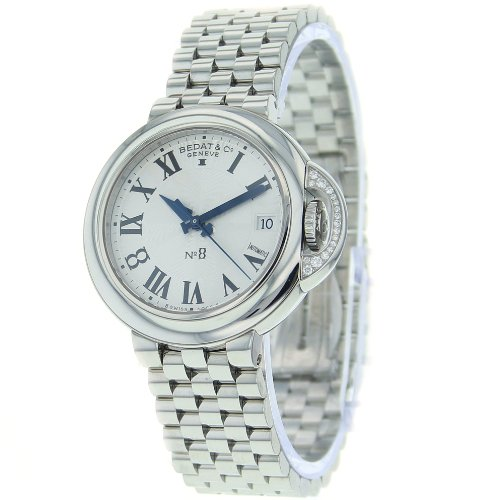 Bedat Unisex 828.021.600 No. 8 Steel Bracelet Automatic Diamond Crown Watch ()
