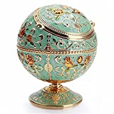AITELEI Metal Globe Ashtray Windproof Ashtray with Lids Portable Cigarette Ashtray Hand Stamped Pattern Ball Ashtray for Outdoors Indoors Home Hotel,Nice Gift