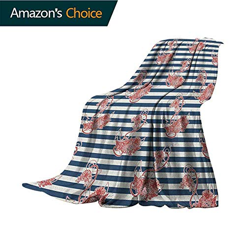 (Anchor Weighted Blanket for Kids,Floral Anchor on Striped Surface Crescent Moon Cute Modern Spiritual Theme Art Throw Blanket for Ultimate Comfort,60