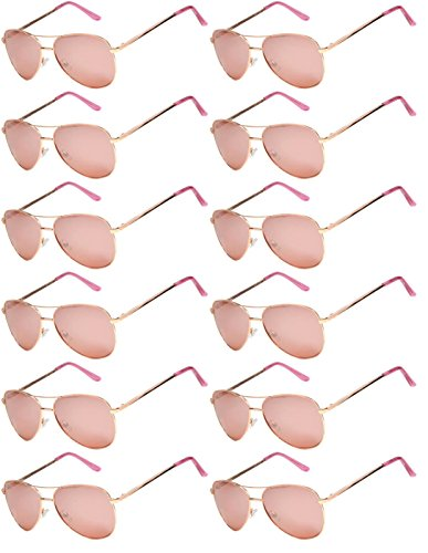 12 Pack Aviator Eyeglasses Metal Gold, Silver, Black Frame Colored Mirror Lens OWL. (Aviator_Gold_Rose_Mirror_12p, - Eyeglasses Rose