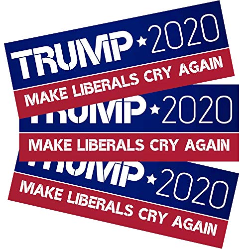 Moligoo Car and Truck Bumper Stickers, 9x3 Inch Trump 2020 Make Liberals Cry Again, 2020 Presidential Election (3 Pack)