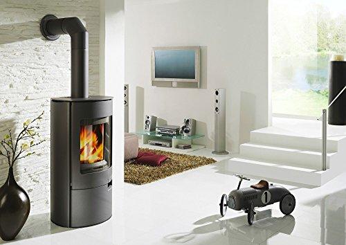Koppe Stahl-Kaminofen Gismo 7 KW gussgrau mit Holzlegefach Wirkungsgrad über 80%