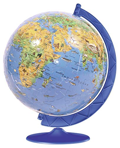 Ravensburger XXL Children's Globe 180 Piece 3D Jigsaw Puzzle Ball for Kids and Adults - Easy Click Technology Means Pieces Fit Together - Ball Puzzle Ravensburger