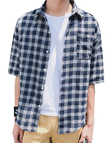 つまずく敏感なとは異なりシャツ メンズ 半袖 大きいサイズ カジュアル ギンガムチェック 夏 チェックシャツGlestore(グラストア)