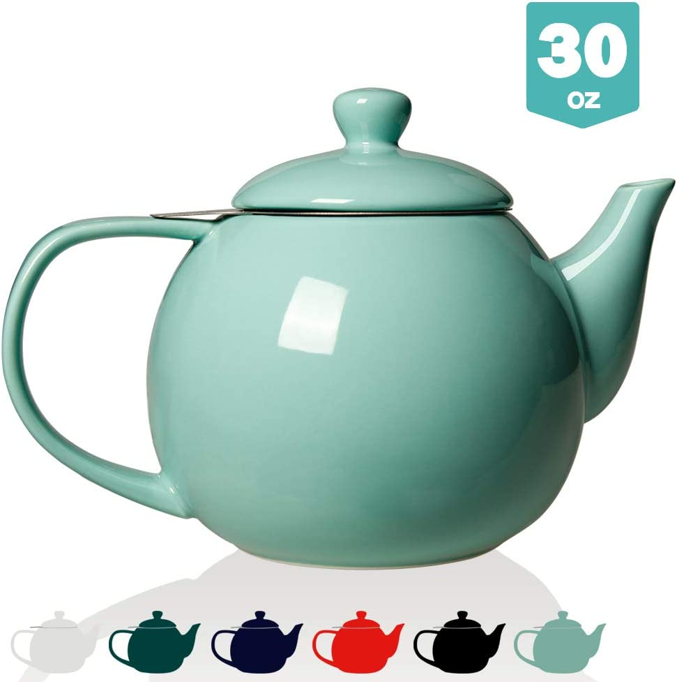 SWEEJAR Porcelain Teapot with Infuser and Lid,Teaware with Filter 30 OZ for Tea/Coffee/Milk/Women/Office/Home/Gift (Turquoise)