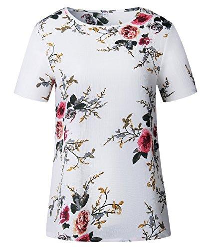 t Courtes Blanc New Lache Chemisier Imprim Casual Manches Haut Tops Blouses Shirts Chemisiers Femmes Col Rond T Fashion rRCq1rw6fx