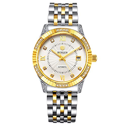 (BINLUN 18K Gold Plated Automatic Wrist Watches for Men Luxury Men's Dress Watch (Silver-gold2))