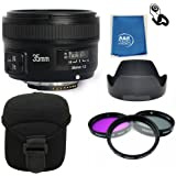 Yongnuo EF 35mm F2 N Wide Angle Fixed Prime Auto Focus Lens Nikon YN35mm PRO KIT With Filters , case , hood