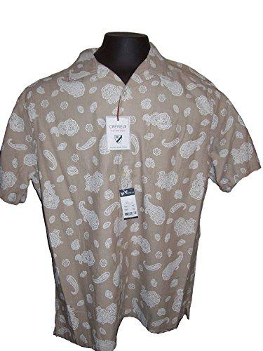 Daniel Cremieux Size Large Men's Short Sleeve Button Down Shirt Tan Paisley