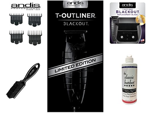 Andis 05110 T-Outliner - Black Out - Bundle includes: Replacement T-outliner Blackout Blade, #23575 Clipper Comb Set, Andis Blade Brush, & The Classic Barber Clipper Oil by Andis