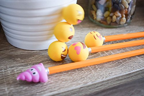 Pencil Top Erasers - Emoji Erasers for Kids - Fun Pencil Top Eraser - Everything Emoji Cute Pencil Eraser Tops (Set 4 (18 pack)) by I EM JI (Image #4)