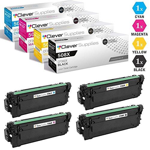CS Compatible Toner Cartridge Replacement for HP 508A CF360X Black CF361A Cyan CF363A Magenta CF362A Yellow HP 508X Color Laserjet Enterprise M533X M552DN M553DN M553N M577C M577F M577Z 4 Color Set ()
