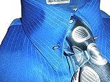 Karl Knox SX4367 Mens Royal Blue Pinned Collar Striped French Cuff Dress Shirt