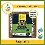 Shastha Organic Green Whole Moong Dal - 4 Lbs (Certified by USDA & Indian Organic) B-P