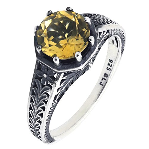 Vintage Style Art Deco Sterling Silver Round Cut Natural Citrine Filigree Ring (1.8 CT.T.W)