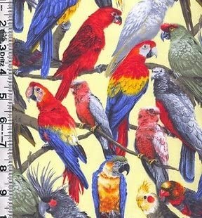 Great for Quilting, Sewing, Craft Projects, Quilt, Throw Pillows /& More Living Wonders Parrots on Yellow Cotton Fabric 1 Yard X 44 1 Yard
