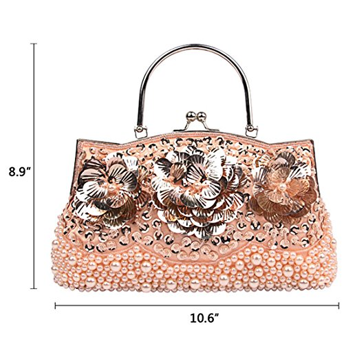 for Fully Mesh Clutch Handbags Style Champagne Bags for Sequined weddings Antique Women 1Z1apzx