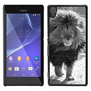 LECELL--Funda protectora / Cubierta / Piel For Sony Xperia T3 -- blanco león macho negro melena poderosa --